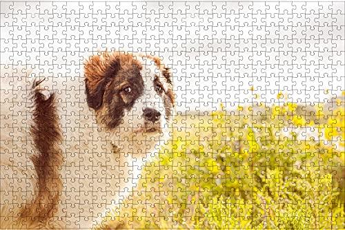 LHJOY Puzzle 3D 500 Piezas Animales de Granja de Perros Regalo de cumpleaños 52x38cm