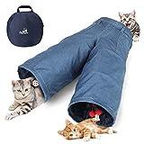 Pawaboo Tunnel per Gatto, Premium Tunnel Forma di Jeans Tunnel 3 Uscite Estensibile Pieghevole con Pallina Pompon e Campanelle Giocattoli Interattivi per Gattino Coniglio Cucciolo, Denim Blu