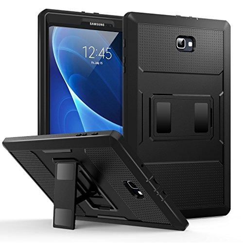 MoKo Samsung Galaxy Tab A 10.1 Funda - Shockproof Híbrido Resistente Smart Cover Case para Choque con Protector de la Pantalla Incorporado para Galaxy Tab A 10.1(SM-T580/T585, sin Lápiz), Negr