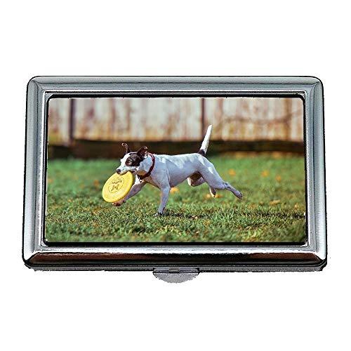 Harter Kasten-Zigaretten-Kasten, entzückender Tier-Hundewelpe Netter aufgerichteter Haustier-Hund, Visitenkarten-Karten-Geschäfts-Karten-Kasten rostfrei