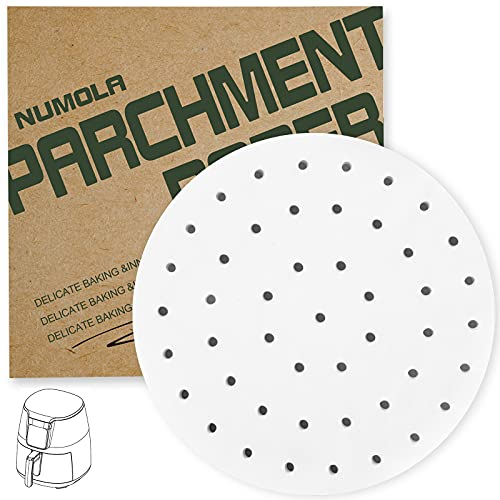 Numola Air Fryer Liners, 10 Inch 100 PCS Perforated Parchment Paper Compatible with COSOR, GoWISE USA, Ninja, Ultrean, Chefman, Innsky, Dash, OMORC, BELLA, Secura and More 6-8.5QT Air Fryer