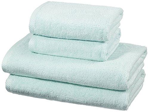 Amazon Basics - Handtuch-Set, schnelltrocknend, 2 Badetücher und 2 Handtücher - Eisblau, 100% Baumwolle