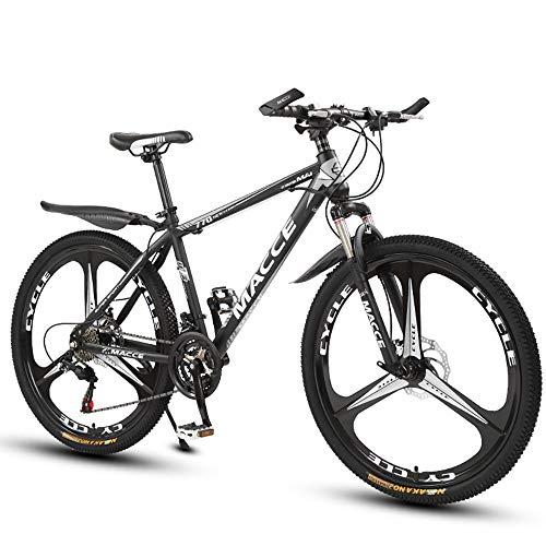 26 Zoll Mountainbike, Scheibenbremsen Hardtail MTB, Trekkingrad Herren Bike Mädchen-Fahrrad, Vollfederung Mountain Bike, 27 Speed,Schwarz,three cutter wheel