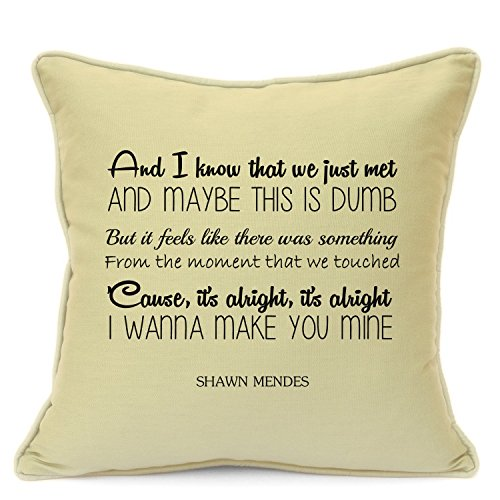 Shawn Mendes I Wanna Make You Mine Love Song Cushion Cover Gift for Him Her Husband Wife Girlfriend Boyfriend Valentines Day Wedding Anniversary Gifts 18 Inch 45 cm Beige