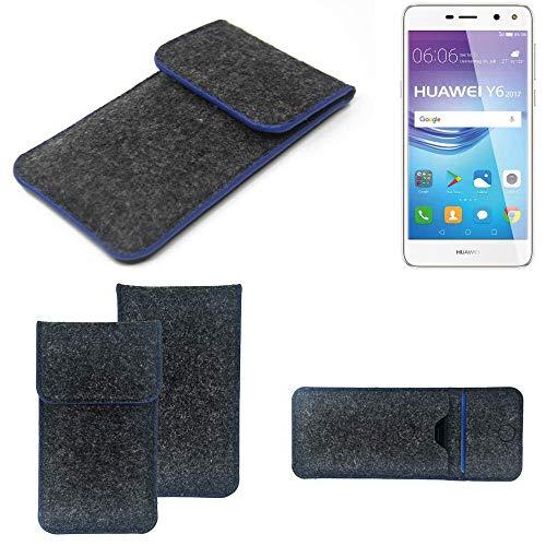 K-S-Trade Filz Schutz Hülle Für Huawei Y6 2017 Dual SIM Schutzhülle Filztasche Pouch Tasche Hülle Sleeve Handyhülle Filzhülle Dunkelgrau, Blauer Rand