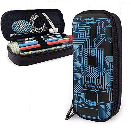Blau und schwarz Stromlaufplan niedlich Stift Federmäppchen Leder große Kapazität Doppelreißverschlüsse Bleistift Tasche Stifthalter Box 20cm * 9cm * 4cm