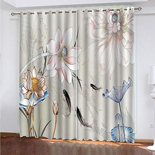 KAOLWY The Curtains, Flower Root And Lotus Curtains, 140 x 160 cm, Thermal Blackout Curtains for Room Windows And Balconies Modern Printed with Eyelets