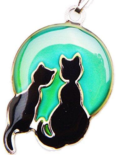 Collar que cambia de color según el estado de ánimo. Diseño con dos gatos en la luna
