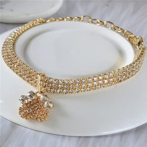 RayMinsino Collar para mascotas con diseño de letra de circón con tres diamantes de drenaje para gatos y perros