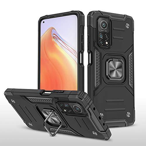 SORAKA Funda para Xiaomi Mi 10T 5G/Mi 10T Pro 5G con Anillo,Carcasa a Prueba de Golpes,Funda Silicona Suave,Cubierta Trasera rígida de PC con Placa de Metal para Soporte magnético para teléfono móvil