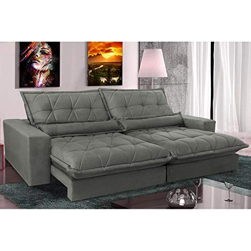 Sofa Retrátil e Reclinável com Molas Ensacadas Cama Inbox Soft 2,12 Mts Tecido Suede Cinza