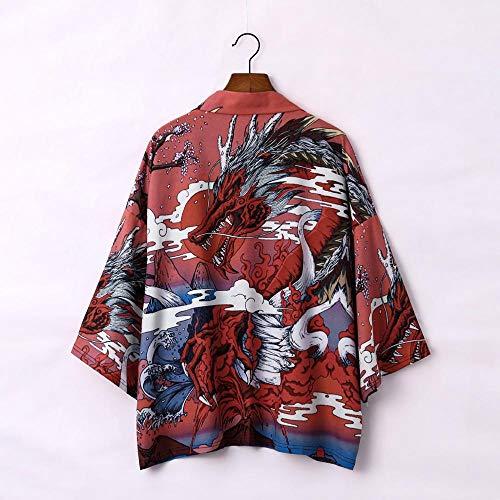 Kimono Japonés Cardigan Hombres Verano NuevoSamurai Kimonos Karate Streetwear Camisa Kimono Japones Hombres Yukata-Style_C_XL