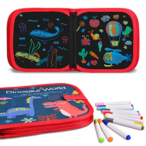 Tyhbelle Malbuch für Kinder, Wiederholtes Abwischen Zeichenbrett Dinosaurier-Welt Graffiti-Zeichenmatte 14 Seiten mit 12 Buntstifte (Dinosaurier-Welt)