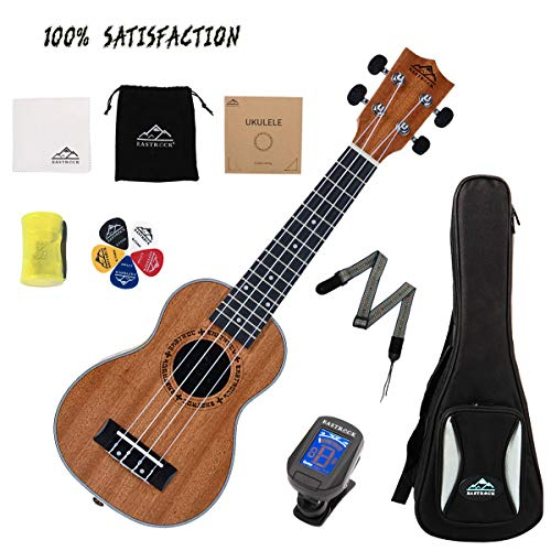 EastRock Ukulele Soprano Ukulele 21 inch Ukelele Professional Instrument Kit for Kids Beginners & Adults with Good Quality Bag &Tuner&Strap&4 Carbon String&Cleaning Cloth Set(Soprano,Sapele UKULELE)