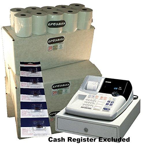 EPOSBITS® - 100 rollos + 5 cartuchos de tinta para caja registradora Casio 120CR 120 CR: Amazon.es: Oficina y papelería