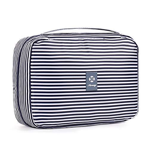 Reise Kulturtasche Zum Aufhängen Kulturbeutel Kosmetiktasche Waschtasche für Kinder Frauen Mädchen Damen (Blauer Streifen (Großer))