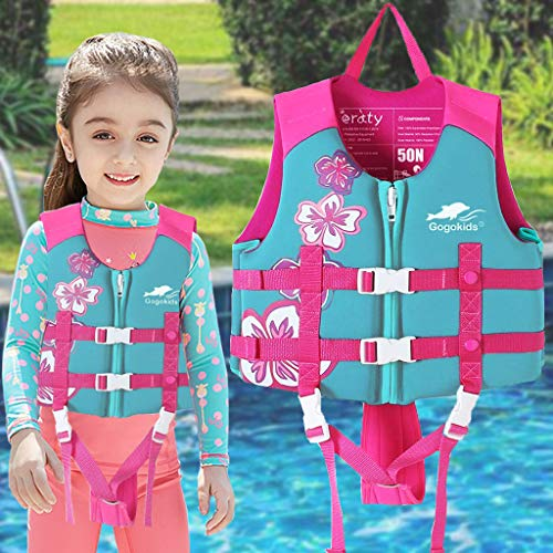 Kids Swim Vest -Baby Life Jacket Printed Float Jacket Vest Buoyancy Swimwear with Adjustable Safety Strap, Suitable for 2-9 Year