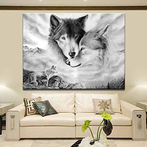 Lunderliny Lobo Blanco Y Negro Decoración De Animales Pintura Hogar Sala De Estar Fondo Pared Colgante Pintura Lienzo Pintura 40x60cm