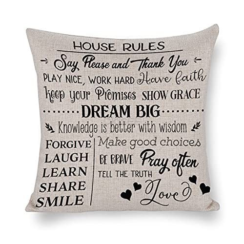 DKISEE House Rules - Funda de almohada decorativa de 45 x 45 cm, decoración del hogar para sofá cama, funda de almohada de lino de algodón con cremallera invisible - o666junjq0nc