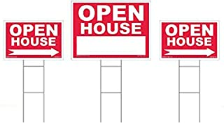 Open House Sign Kit - 3 Double Sided Signs & 3 Heavy Duty Stakes - Red Property Signs 18