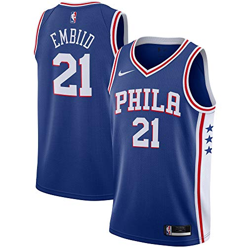Nike Joel Embiid Philadelphia 76ers NBA Boys Youth 8-20 Blue Icon Edition Jersey (Youth Medium 10-12)