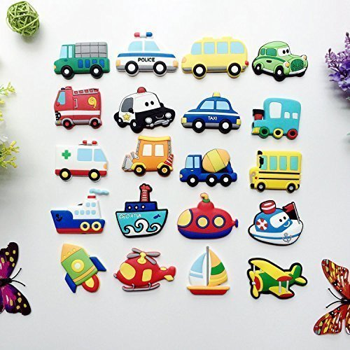 treasure-house 10 pcs Kids Educational Toys Magnet - car Fridge Magnet with Magnetic Picture Frame, Decor Refrigerator Magnets Sticker Home Decoration for Toddlers activity, Toddler magnets,