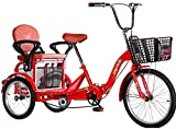Triciclos Adultos para Adultos Adultos Adultos Adulto 20 Pulgadas 3 Bicicletas 3 Ruedas con Gran recreación Cesta de Compras Hombre de Picnic Hombres Hombres Hombres Hombres-Rojo
