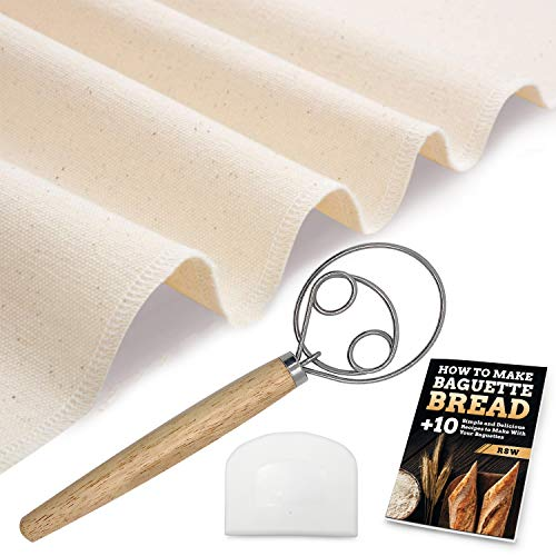 Proofing Cloth Couche for Bread Dough Stainless Steel Dough Whisk Bowl Scraper Free Recipe EBook  100% Thick Cotton  Easy To Clean And Use