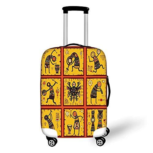 Reizen Bagage Cover Koffer Beschermer, Bos, Naaldbos en Misty Herfst Ochtend Zonnestralen Door Dennenbomen, Donker Groen en Geel, voor Reizen