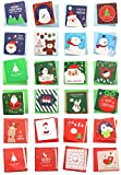 24 Pack Mini Christmas Greeting Cards & Envelopes, Cute Stweety Small Size 3 x 3' Merry Christmas Greeting Cards Festival Color (Pack of 24)