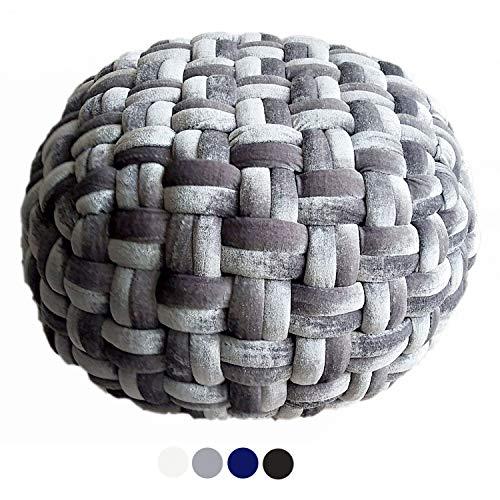 casamia Velour Sitzhocker Pouf Sitzpouf Sitzpuff Ø 55 cm Höhe 37 cm Bodenkissen Sitzgelegenheit Beistelltisch handgeknüpft Farbe grau