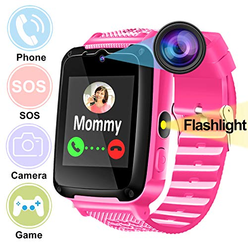 Niños Smartwatch Reloj Inteligente Teléfono con Cámara Llamada Pantalla táctil de 1,44 '' Despertador SOS Juego Linterna Deporte Pulsera para niños niñas Vacaciones Regalos de Cumpleanos Escuela