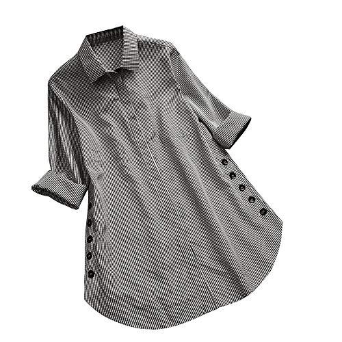 DAY.LIN Top Kleidung Damen Frauen Langarm Gitter Knopf Casual Tops Shirt Lose Plus Size Bluse Lange...
