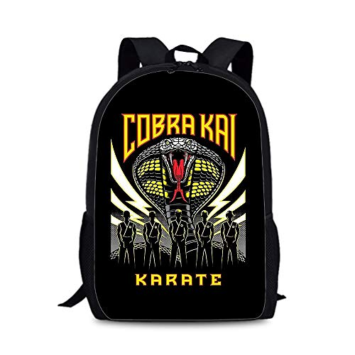 Cobra Kai Trendy Design Backpack Outdoor Light Stylish Travel Bag Compact and Lightweight School Bag Sports Outdoor Daypack Suitable for School Boys and Girls Kids