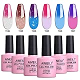 AIMEILI UV LED Thermo Gellack mehrfarbig ablösbarer Temperatur Farbwechsel Nagellack Chameleon Gel Polish Set Kit - 6 x 10ml - Set Nummer 14