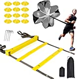 COYAVIC Agility Ladder (20 Feet) for Speed & Agility Trainning - with 12 Heavy Duty Plastic Rungs, 4 Pegs, Resistance Parachute Carry Bag & 12 Sports Cones for Football Training for Adult & Kids