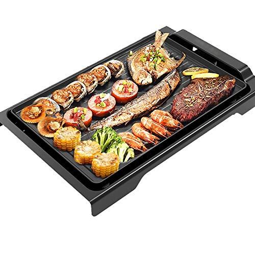 Non-Stick Teppanyaki Grill Pan Tragbarer BBQ-Grillplatz Indoor Barbecue Grill 13550W, Schwarz