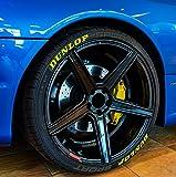 Finest-Folia 4 x Tire Style Reifenaufkleber - Dunlop Reifenschrift Aufkleber (Gelb, 17 Zoll)
