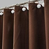 "Hanhao Shower Curtain of Dobby Texture with Rustproof Metal Grommets and Weighted Bottom Hem for Bathroom and Bathtub (Waffle, 72""x72"", Chocolate)"