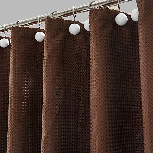 Hanhao Duschvorhang mit Dobby-Textur mit rostfreien Metallösen & beschwertem unteren Saum für Bad & Badewanne, 183 x 183 cm, Schokoladenbraun