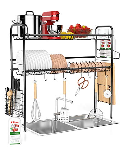Over the Sink Dish Drying Rack - 1Easylife Adjustable 2-Tier Large Dish Dryer Rack for Kitchen Organizer Storage Space Saver Shelf Utensils Holder with 7 Utility Hook Tableware Drainer (Silver)