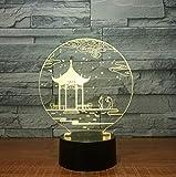 Antike Pavillon 3D Lampe Tischlampe 7 Farben Ändern Schreibtischlampe 3d Lampe Neuheit Led Nachtlichter Led Licht Valentinstag Geschenk