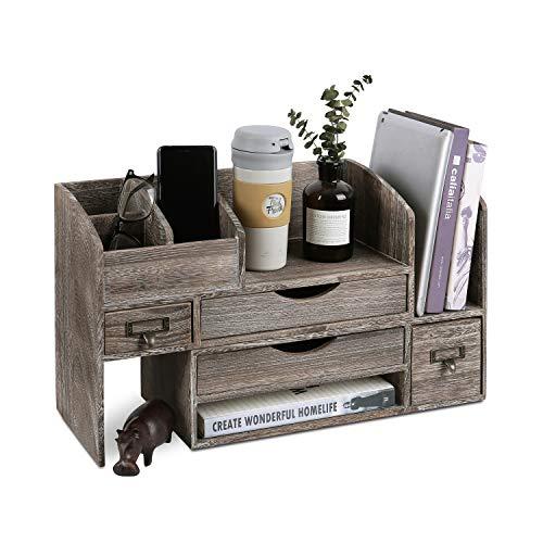 Ikee Design Großer verstellbarer Schreibtisch-Organizer aus Holz für Bürobedarf, Aufbewahrungsregal, Bücherregal, Schreibwarenfachhalter, 43,8 cm B x 19,8 cm T x 30,5 cm H, Kaffeefarben