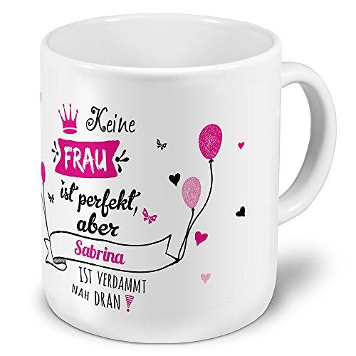 printplanet XXL Riesen-Tasse mit Namen Sabrina - Motiv Nicht Perfekt, Aber. - Namenstasse, Kaffeebecher, Becher, Mug