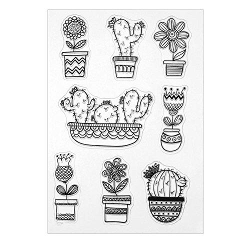 Chansted Sello de Sello de Silicona Transparente Transparente Cactus para decoración DIY Scrapbooking