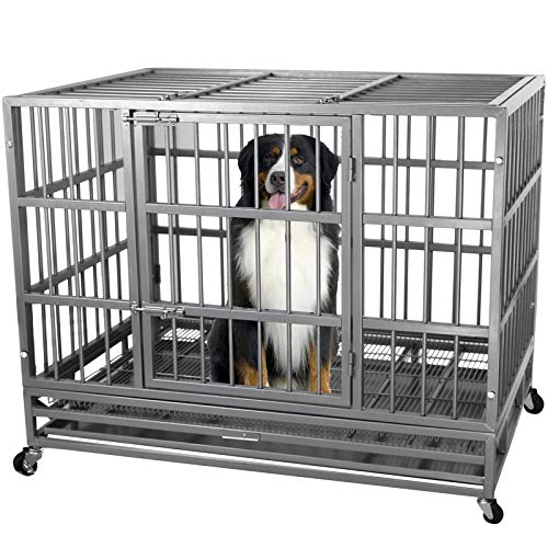 ITORI 42'' Heavy Duty Metal Dog Cage Kennel Crate and Playpen for Training Large Dog Indoor Outdoor with Double Doors & Locks Design Included Lockable Wheels Removable Tray(42in 48in) (42 in, Black)