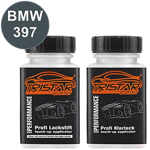 TRISTARcolor Autolack Lackstift Set für BMW 397 Anthrazit Metallic/Moiregrau Metallic Basislack Klarlack je 50ml