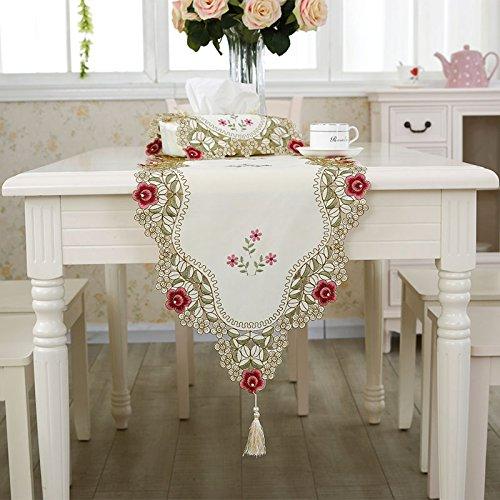 Uus moderne Housse de table Drapeau de table à broder Craft Tissu creux sculpté Table Meuble TV Drapeau Nappe Serviette de table de lit Drapeau Housse de table 40*180cm D