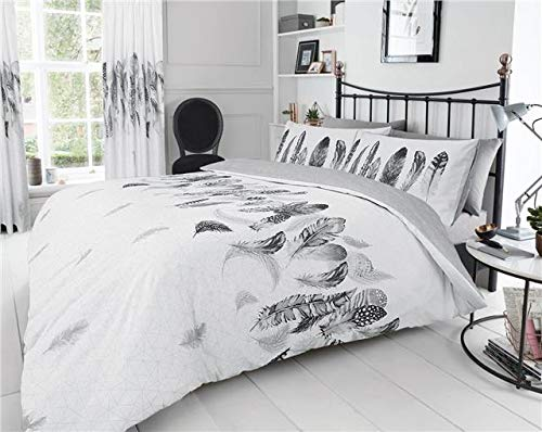 Homemaker White duvet set dream catcher grey feathers design quilt cover bedding (Double)