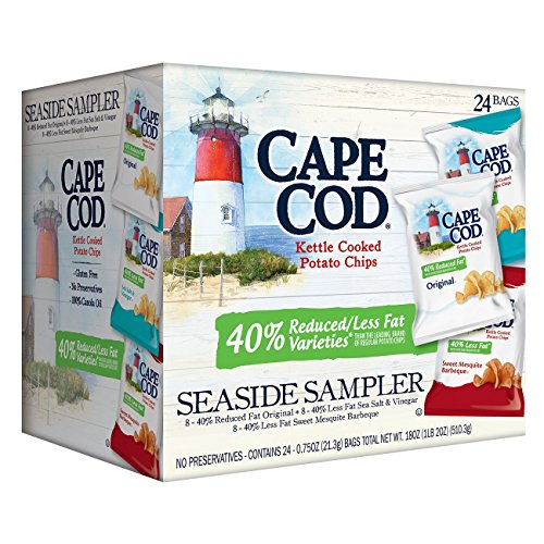 Cape Cod Kettle Potato Chips Reduced Fat Seaside Sampler Variety Pack 075 Oz 24 TEJ